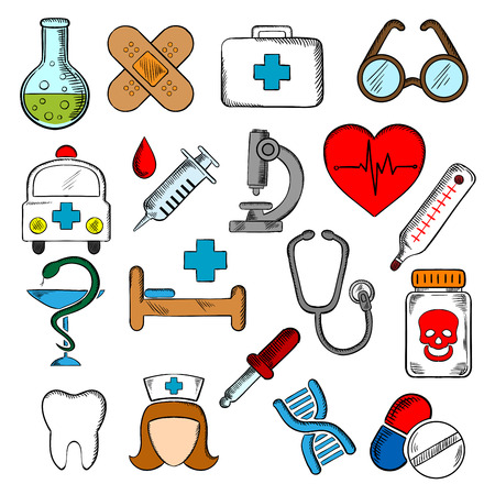 Medicine and health icons set hospital and pharmacy signs, nurse and  ambulance, first aid box and pills, syringe, stethoscope and heart ecg, tooth and glasses, dna, medication and microscope