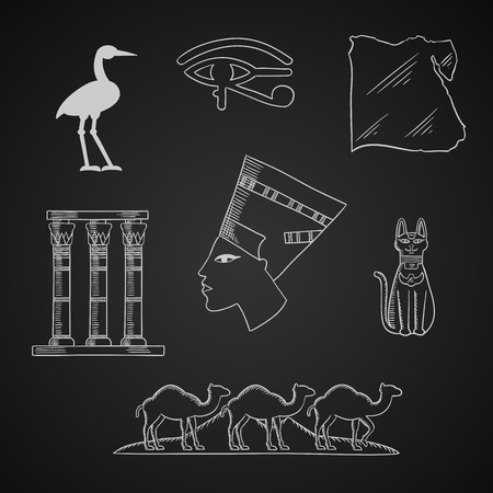 queen nefertiti: Ancient Egypt travel and art chalk icons with profile of queen Nefertiti, cat goddess and sacred heron Bennu, eye of horus symbol, temple columns and country map, caravan of camels and Giza pyramids Illustration