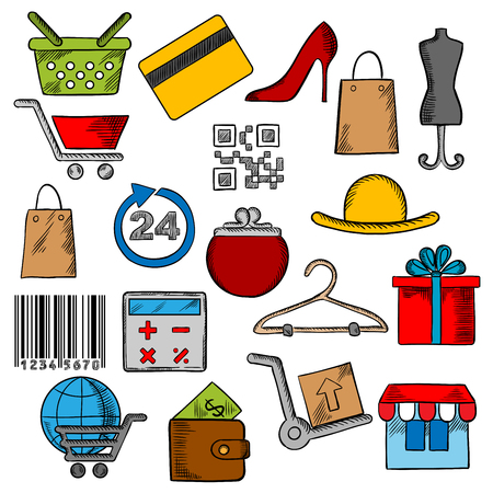 gift basket: Shopping, retail industry and commerce icons with shopping cart, basket and bags, credit card, wallet, money, delivery and barcode, store, qr code, gift box and calculator, shoes and hat