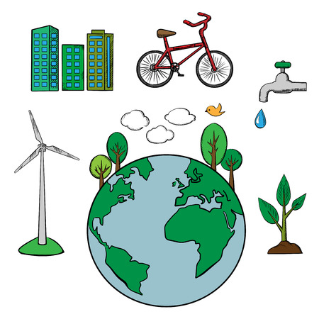 environment protection: Environment and ecology icons set with eco friendly city, tree and bicycle, green energy and natural resources protection