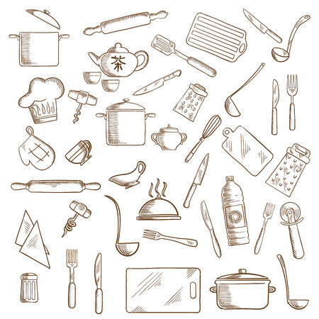 ladles: Kitchenware and utensil icons with pots, ladles and knives, forks, cup and tea set, tray and graters, cutting boards, rolling pins and chef hat, spatula and salt, corkscrews and oil, pizza cutter and whisks, oven glove Illustration