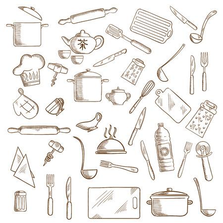Stoviglie e utensili icone con pentole, mestoli e coltelli, forchette, tazza e set da tè, vassoio e grattugie, taglieri, mattarelli e cappello da chef, spatola e sale, cavatappi e olio, taglia pizza e fruste, guanto da forno
