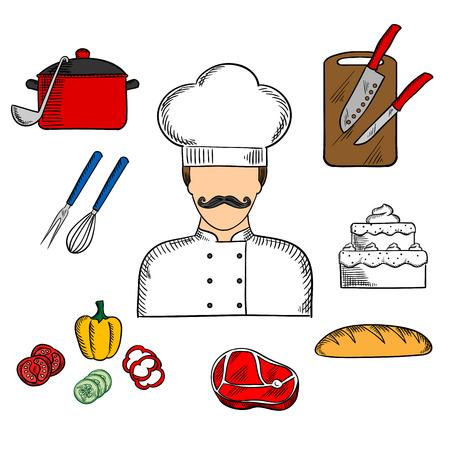 profesiones: Cocinero o chef de profesión concepto plana con el hombre en toque y la túnica con pan, carne de res, la olla con la cuchara, torta con gradas, verduras frescas en rodajas, tabla de cortar con cuchillos, bata y tenedor