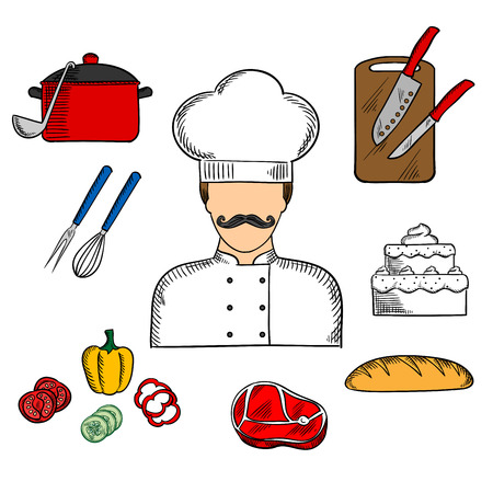 profession: Cook or chef profession flat concept with man in toque and tunic with bread, beef steak, pot with ladle, tiered cake, sliced fresh vegetables, chopping board with knives, whisk and fork