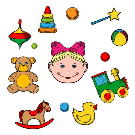 perinola: juguetes infantiles y peque�os iconos de la chica con la silueta de una cabeza peque�a ni�a rodeada de sus juguetes como oso, caballo, pato, traqueteo, tren, bola, pir�mide y perinola