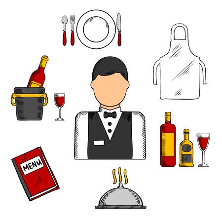 mandil: iconos profesión camarero con el hombre de uniforme, la pajarita, rodeada por un libro de menú, delantal, bandeja con botellas y vidrio, champán en cubo de hielo, plato con un tenedor, cuchillo y cuchara, cloche plata Vectores