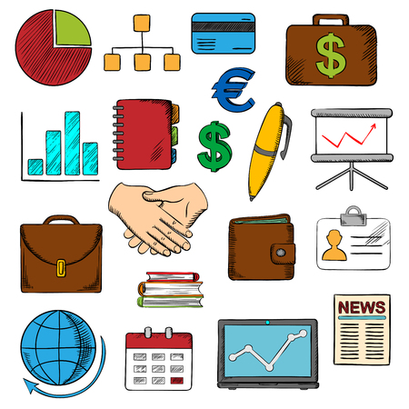 business news: Business, finance and office icons with financial reports and money, handshake and chart, briefcases and laptop, news and globe, calendar, pen and organizer