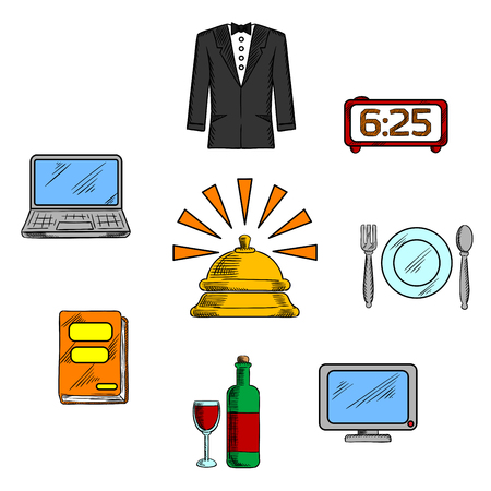 apartment bell: Travel and hotel luxury service icons with reception bell and high quality room service symbols