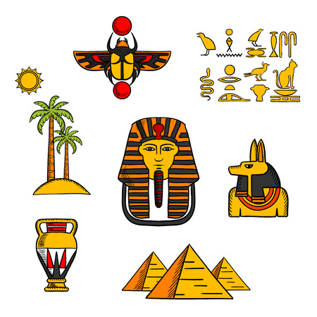 egypt anubis: Egypt travel and culture icons with Giza pyramids, golden mask of pharaoh and ancient hieroglyphics, scarab amulet and Anubis god, amphora and landscape of palm trees with sun