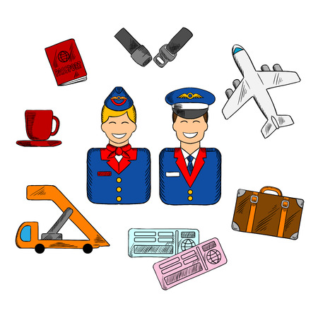 air plane: Air traveling infographic in flat style with smiling stewardess and pilot in uniforms surrounded flight pictograms showing passport, suitcase, plane, seat belt, tickets and cup of coffee