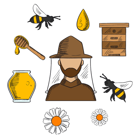 Beekeeping concept with beekeeper in hat and apiculture symbols around him including honey jar, flying bees, flowers, wooden beehive and dipper with drop of liquid honey