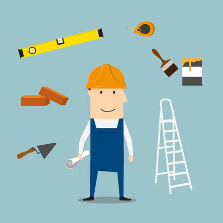 brocha de pintura: concepto de profesión constructor con el hombre en el casco amarillo duro y el mono con la paleta, ladrillo y cinta métrica, herramienta plegable escalera y nivel, brocha con pintura puede y carretilla