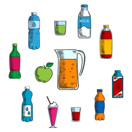 soda: Non alcoholic beverages and drinks with pitcher and fresh apple encircled by water, milk, juice and soda bottles, lemonade and cocktails