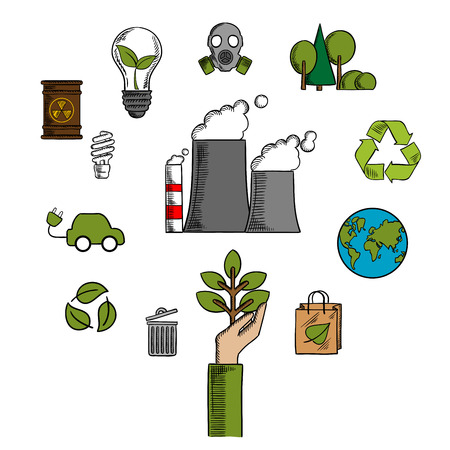 fumes: Environment and ecological conservation icons with recycling, electric cars, green leaves, eco-friendly energy with a radiation symbol, gas mask and industrial chimney belching fumes. Vector illustration