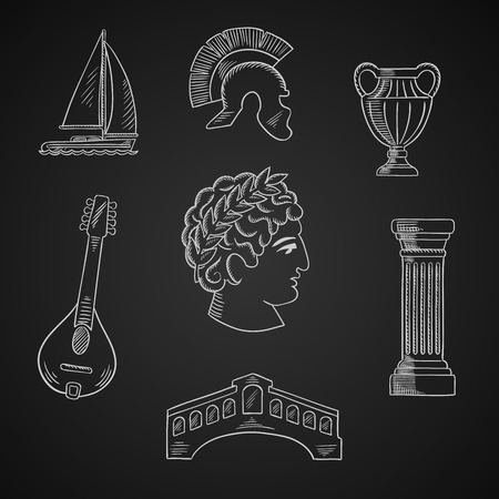 italian culture: Italian culture and travel icons with Caesar in wreath, roman helmet and venice bridge, ancient vase and mandolin, doric column and sailboat