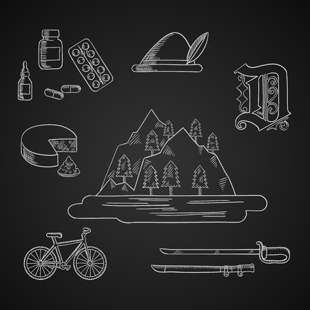 German culture, travel and history icons with Alps mountains, forest and lake, surrounded by bavarian hat and cheese, medication and gothic german letter, bicycle and medieval sword