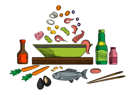 sauce dish: Seafood dish with sauce bottles and chopsticks, whole fish and bowl with pieces of tuna, shrimps and mussels, olives and vegetables