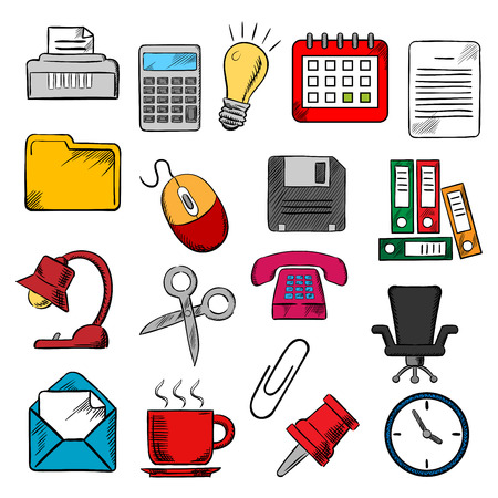 shredder: Business and office supplies icons with light bulb and phone, calendar and calculator, mouse and e-mail, folders documents and clock,  coffee cup and chair, shredder and scissors, pin and clip Illustration