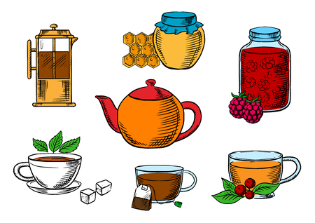 cowberry: Tea icons with jars, honey and raspberry jam desserts, french press, various teacups with tea bag, sugar cubes, fresh leaves of mint and cowberry with porcelain teapot