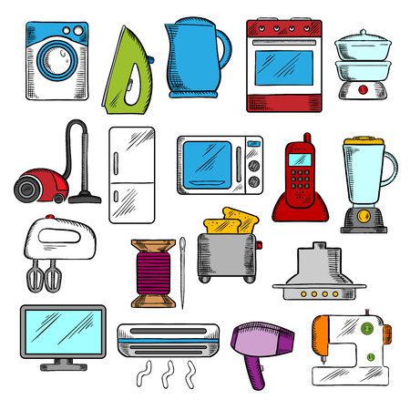 iron fan: Appliances icons set with microwave and vacuum, iron and refrigerator, toaster and tv set, washing and sewing machines, blender and mixer, fan and stove, kettle and air conditioner, telephone and steamer