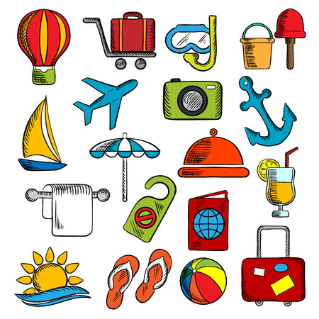 diving mask: Travel, trip and leisure icons set with airplane and luggage, passport and sun, sea and hotel service, yacht and anchor, cocktail and hot air balloon, beach umbrella and toys, photo camera and diving mask