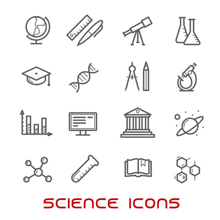 building icon: Science and education thin line icons with college and book, laboratory glasses and computer, microscope and globe, graduation cap and pencil, compasses and dna, atom and biohazard, electricity and oxygen Illustration