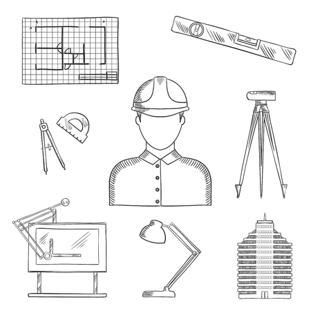 construction draftsman: Architect and engineer profession icons with man in helmet, building and drawing table, blueprint and compasses, protractor and lamp, ruler and automatic level on tripod Illustration