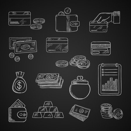 dollar bill: Finance, business and money chalk icons of dollar bills and golden coins, stack of gold bars, wallet, money bag, bank credit cards and financial report on blackboard