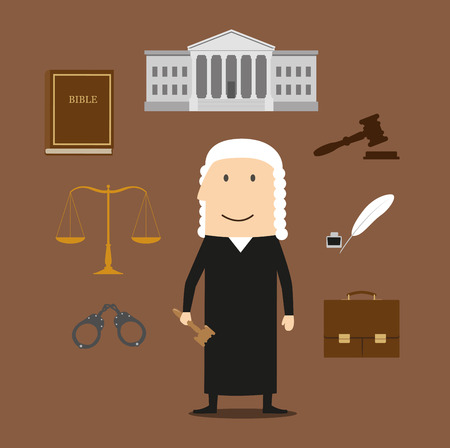 court law: Judge profession icons with judge man in mantle and wig, encircled by law book, gavel, prisoner photo, court building, scales, paper scroll and briefcase