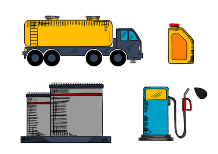 filling station: Oil industry storage, transportation and filling station icons  with tanks, pump, gasoline tank and oil canister Illustration