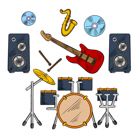 drum set: Musical band icons with drum set and electric guitar instruments, drum sticks and saxophone, disks and speakers Illustration