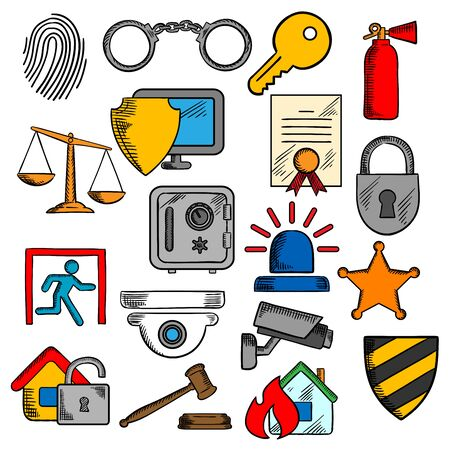 patent key: Security, safety and protection icons set with web security shield and padlock, key and safe, video surveillance and fire security, patent and justice scales, handcuffs and fingerprint, extinguisher and sheriff star