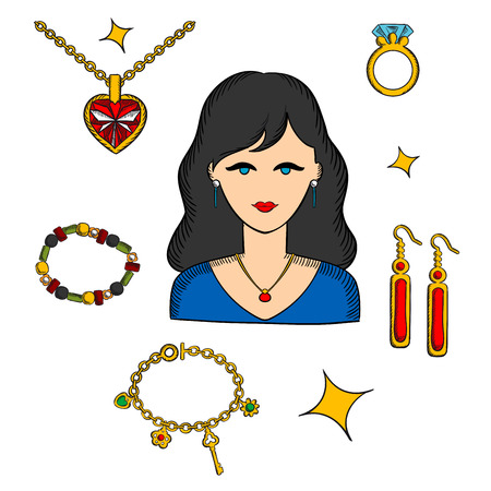 woman accessories: Pretty brunette woman surrounded by fashion gold with gemstones, precious accessories, chain with heart pendant, diamond ring and long earrings, bracelets and shining stars
