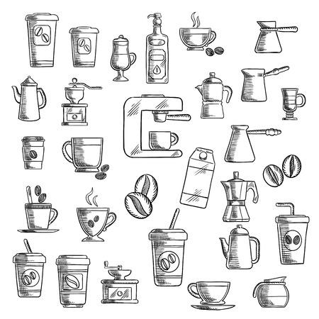 capuchino: iconos de café con las tazas de comida para llevar, frijoles y ollas de café, molinillo de café, capuchino y café espresso, cafetera eléctrica y máquina de café