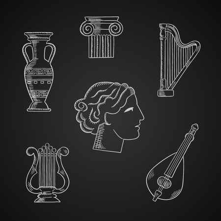 lyre: Art and musical instruments chalk icons with a lyre, amphora, column capital, mandolin, harp and woman head on blackboard