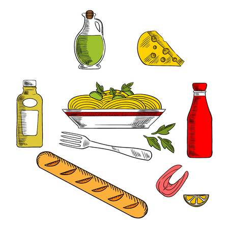 cheese bread: Italian pasta food icons design with italian spaghetti, sauce and basil encircled by bottles of olive oil, tomato and mustard sauces, fork, cheese, ciabatta bread and salmon fish