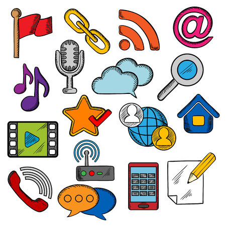 multimedia icons: Multimedia and communication icons with smartphone
