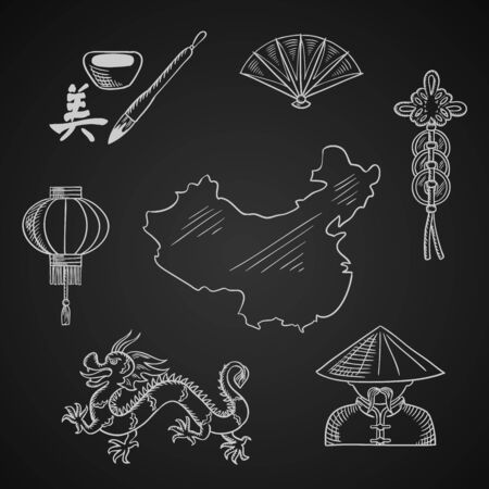 dragon calligraphy: Chinese culture and art icons with dragon, mandarin or chinaman, lantern, calligraphy, fan, and wealth symbol around a map of China