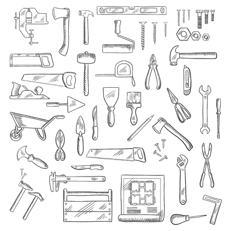 fastener: Construction hand tools icons of hammer and axe, saws and wrench, screwdrivers and scissors, trowel and spatula, paintbrush and roller, knives and fastener, pliers ans toolbox, blueprint, wheelbarrow and ruler