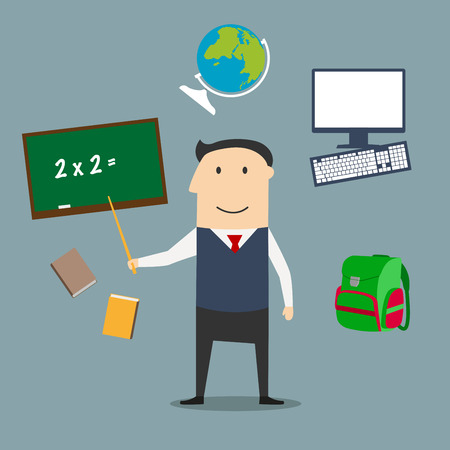 exercise book: Teacher profession concept with man encircled by blackboard with chalk formula, books and pen, laboratory flasks and school bag, exercise book with geometric figures and triangle ruler