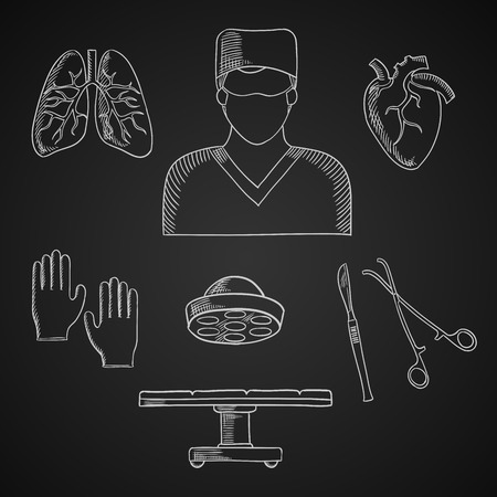doctor gloves: Surgeon profession chalk icons with doctor, operation table and lamp, gloves, human heart and lung, scalpel and forceps Illustration