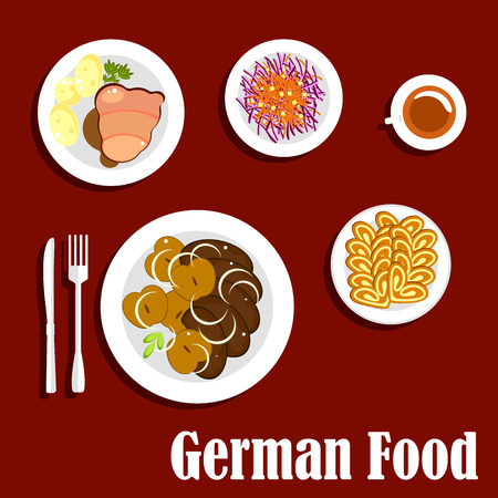 Popular national german cuisine menu dishes with fried liver served with baked apples, schnitzel with gravy and boiled potatoes, red cabbage salad topped with grated carrots and cup of tea with walnut cakes