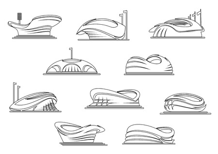 sporting: Modern open stadium and arena symbols for sporting competition emblem or architecture design element with outline abstract buildings