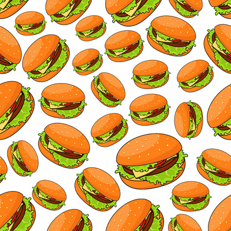 sesame seeds: Fast food seamless pattern for takeaway restaurant menu, fast food cafe or street food design with fresh cheeseburgers and burger patty, tomatoes and cheese, lettuce on bun with sesame seeds