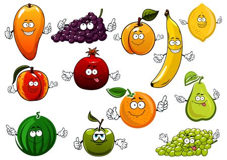 Dibujos animados frutas felices caracteres con el plátano y naranja, manzana y mango, pera y limón, melocotón, uva verde y violeta, la sandía y el albaricoque, granada. Agricultura, alimentación postre o temas de nutrición saludable