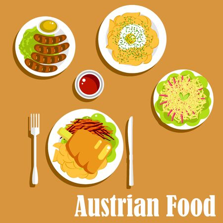 sauces: Nutritious austrian dishes of ham hock served with fried potatoes and fresh carrot, grilled vienna sausages with mustard and ketchup sauces, fried potato with egg and spaetzle noodles