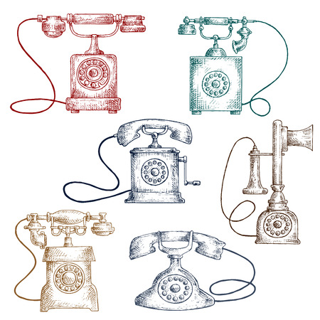 corded: Vintage corded phones sketches in engraving style with colorful telephones. Communication or contact us themes design