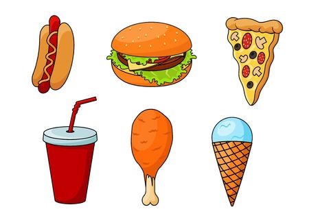 la pizza fast food tradizionale, condita con salsicce, formaggio, funghi e olive, cheeseburger con verdure fresche, hot dog, aromatizzato con senape, coscia di pollo fritto, bicchiere di carta di soda e menta cono gelato. stile del fumetto