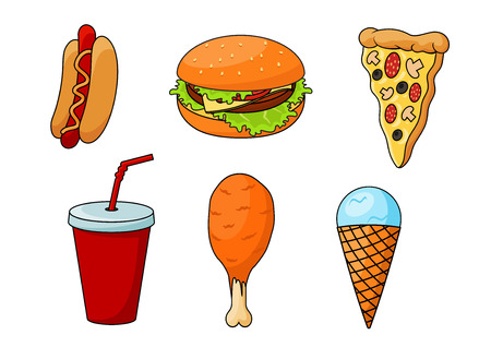 cartoon food: Traditional fast food pizza, topped with sausages, cheese, mushrooms and olives, cheeseburger with fresh vegetables, hot dog, flavored with mustard, fried chicken leg, paper cup of soda and mint ice cream cone. Cartoon style