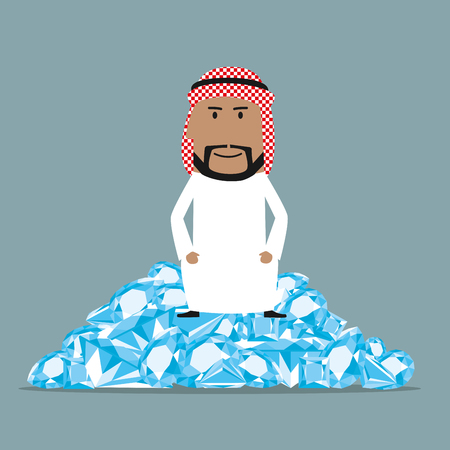 richness: Fabulously wealthy cartoon arab businessman sitting on a heap of shining diamonds. Wealth, richness and abundance concept